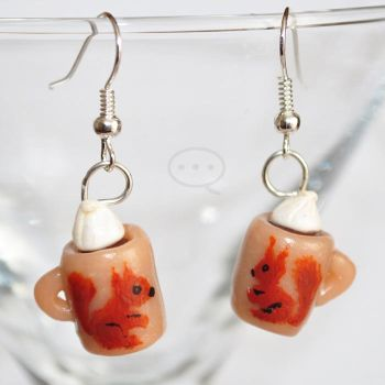 clay cocoa cup earings by cihutka123