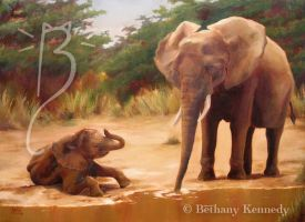 The Waterhole - Elephant by FuzzyCreaturePainter
