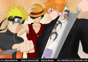 Naruto, Luffy and Ichigo by Sahil69