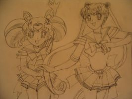 Super Sailor Moon + Chibi Moon by omegajjj