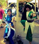 Toph and  Korra bending by xogirlxo78