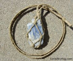 Hemp Wrapped Blue Kyanite Necklace by LWaite