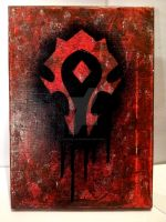FOR THE HORDE! Red and black canvas painting by kernal-flob