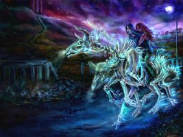 Night ride of Myar and Kamoril by DGrayfox