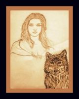 Kahlan and Brophy the Wolf by Darkendrama