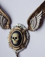 Winged Death necklace2 by Pinkabsinthe