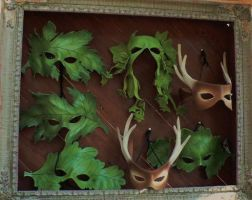 Theater grouping, forest theme leather masks by faerywhere