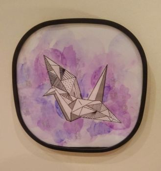 Origami Crane Painting- Pink + Purple Watercolour by CuriousBunnyClothing