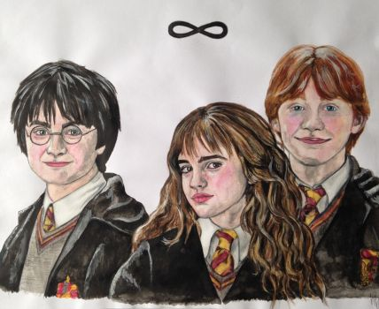 Harry, Hermione, Ron by ladiko29