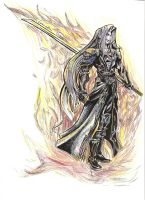 Sephiroth with Flames by Cornuts16
