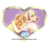 Child and Dog by kittychiii