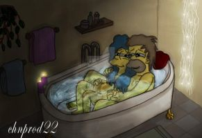 Homer and Marge - Bathcuddling by ChnProd22