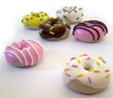 Polymer Donut Charms by InvisibleSnow