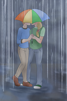 Kisses in the Rain by luddles