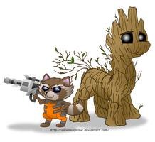 Commission:  Rocket and Groot in Equestria by AleximusPrime
