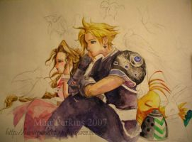 Cloud and Aerith Amano tribute by tifachan
