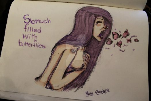 Stomach filled with butterflies by Hannastrandqvist