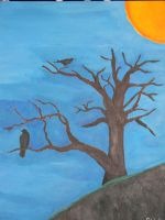 Desolate Tree with Ravens by scoldingspirit84