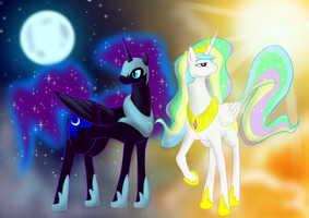 Princesses of Luna and Sol by livinlovindude