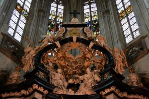 Upper part of Altar and stained glass windows by CaryAndFrankArts