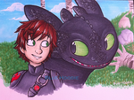 Hiccup and Toothless! by Blue-Hoodie