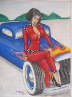 girl and blue hot rod by waynemiller-jr