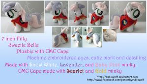 MLP Sweetie Belle Plushie w/ CMC Cape :Commission: by RubioWolf