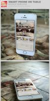 Smart Phone on Table Mockup Templates by loswl