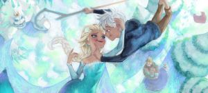 Frozen Elsa and Jack fan art by Angju