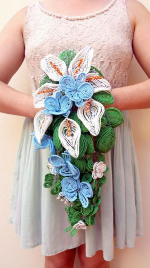 Calla Lily and Orchid beaded cascade bouquet by EverAfterDesigns