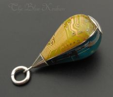 Tri colored tear drop circuit pendant2 by thebluekraken