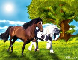Horse in the meadow by ultraviolet1981