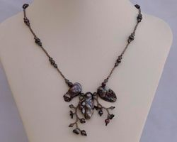Wild orchid necklace, dark grey N1360 by Fleur-de-Irk