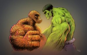 Thing vs Hulk by Lawnz