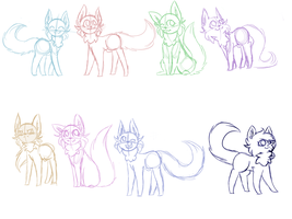 Cat sketches for the placement indeed by AlbinaReed