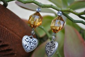 Amber and Hearts Earrings by thumbelyna