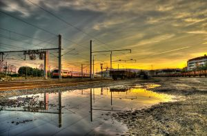 Sunset at the station by Toinant