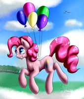 Pinkie Pie flying in the sky! by ArtyJoyful