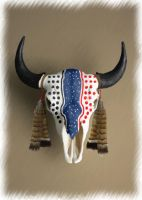 Painted Bison Skull by jasontravisott