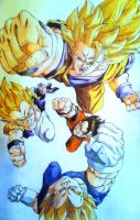 Saiyans fight stop Buu by HeroArtist20