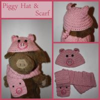 Doll-Sized Piggy Crochet Hat and Scarf by sapphiresphinx