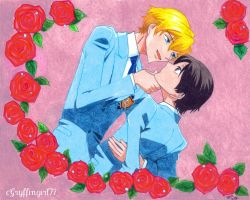 Haruhi and Tamaki in Roses by Gryffingirl77