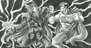 sketch day 11 Thor VS Superman by chachaman