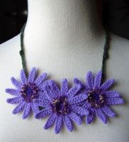 Crochet Purple Daisy Necklace by meekssandygirl
