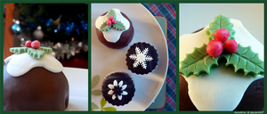 Christmas Pudding Cake and Winter Cupcakes by AstralKiwi