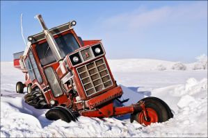 Red Tractor Snowbound by bacardi870