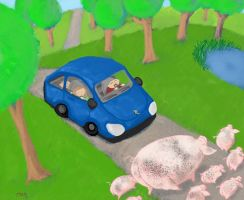 Pigs cross the road by HappyPeapod