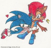 Sonic x Sally - Snuggle by SamCyberCat