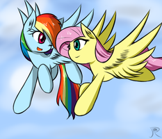 Rainbow dash and Fluttershy by ranban