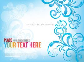 Free Blue Floral Abstract Background Vector by 123freevectors